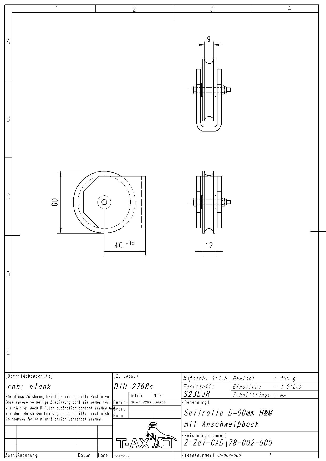 Seilrolle D=60mm zum Anschweißen - www.obermaier.shop